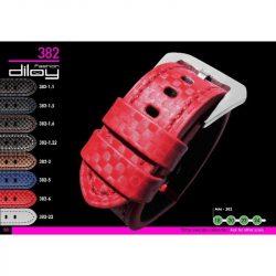 Diloy Techno Fiber bőr óraszíj, fekete/kék