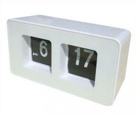 Flip Clock lapozós óra, fehér