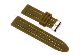 Szilikon óraszíj, navy zöld/fehér varrás, 26mm
